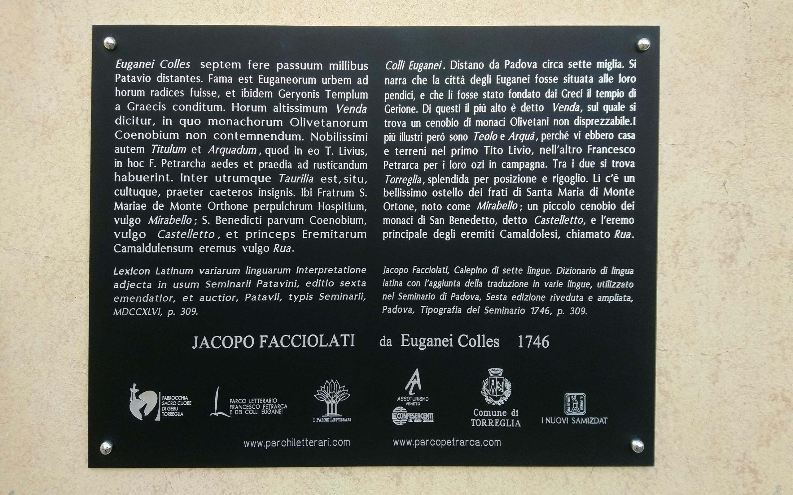 Jacopo Facciolati a Torreglia